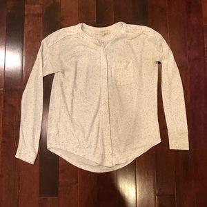 LOFT Petite Button Up Crewneck Casual Pocket Shirt
